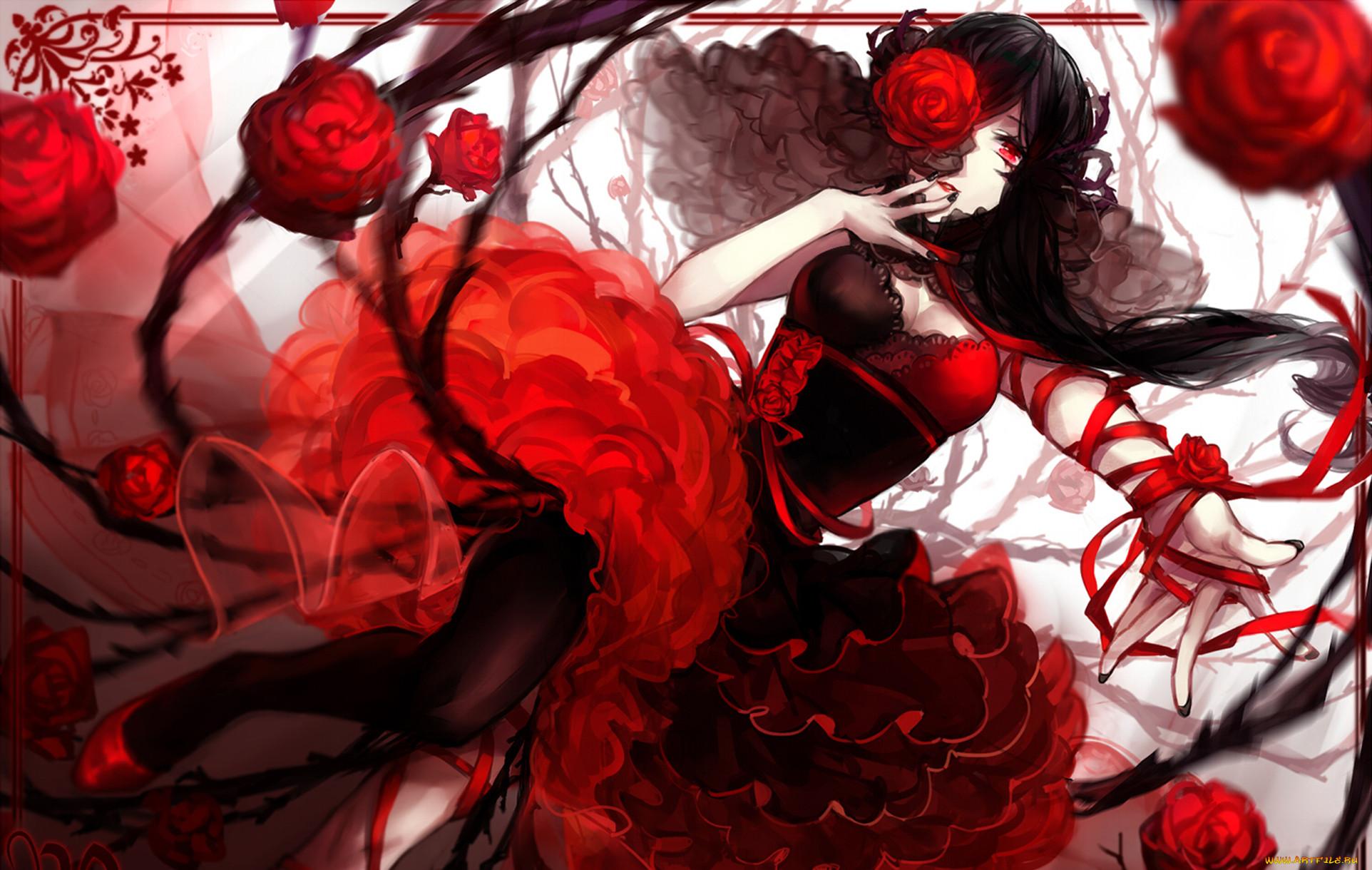 Аниме девочка в красном платье картинки